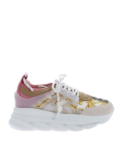 Versace - Pink Chain Reaction sneakers with Gold Hibiscus print
