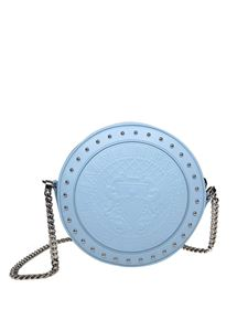 Balmain - Light blue disk bag with studs and logo