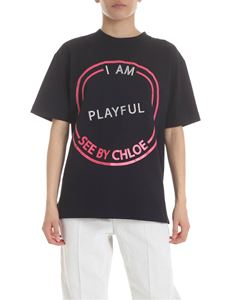 See by Chloé - Black t-shirt with embroidery