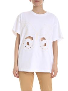 See by Chloé - White T-shirt with butterfly embroidery