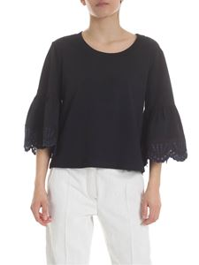 See by Chloé - Dark blue embroidery blouse in black