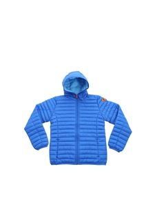 Save the duck - Hooded down jacket in electric blue