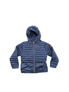 Save the duck - Down jacket in avio blue color semi-glossy fabric