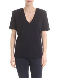 Federica Tosi - Black V-neck t-shirt with raw cut