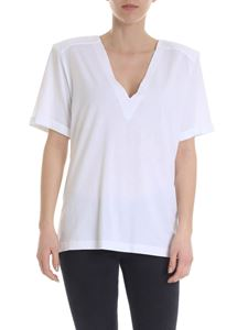 Federica Tosi - White V-neck t-shirt with raw cut