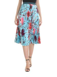 Fuzzi - Pleated skirt in light blue floral print