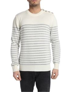 Balmain - White striped pullover with iconic buttons