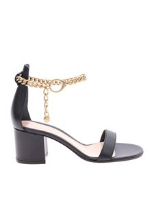 Gianvito Rossi - Black leather sandals with chain