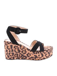 Gianvito Rossi - Sandals in suede with animal printed wedge