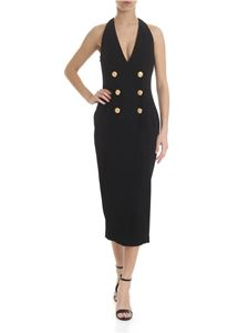 Balmain - Black V-neck double-breasted dress