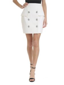 Balmain - Ivory skirt with decorative buttons