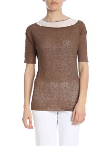 Fabiana Filippi - Two-layer t-shirt in brown and white