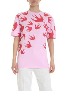 McQ Alexander Mcqueen - Pink t-shirt with swallows print
