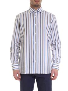 Luigi Borrelli - Striped cotton shirt in white