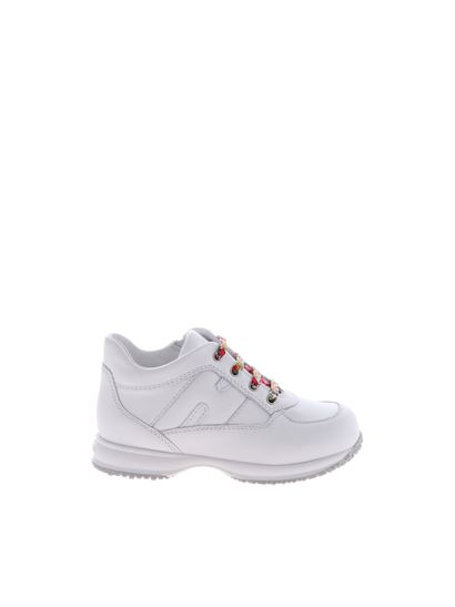Hogan Junior Carrie Over white h interactive sneakers with floral ...