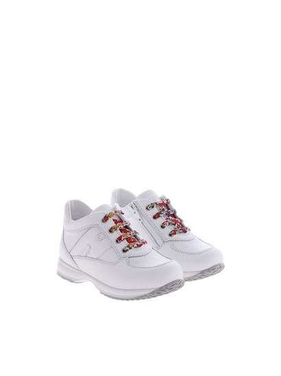 Hogan Junior - White H interactive sneakers with floral laces