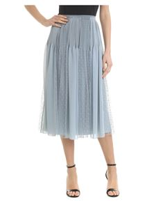 Red Valentino - Georgette and tulle skirt in light blue