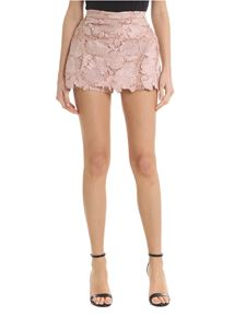 Red Valentino - Shorts in macramè floreale rosa antico