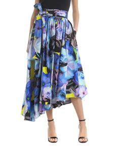 MSGM - Floral skirt with bow in shades of blue