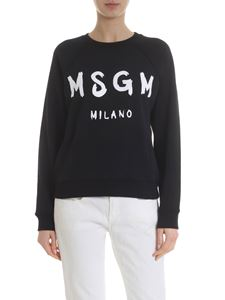 MSGM - Brushed logo sweatshirt in black