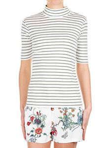 Closed - High collar t-shirt with green striped pattern