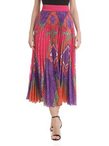 Pin-Up Stars - Pleated multicolor long skirt
