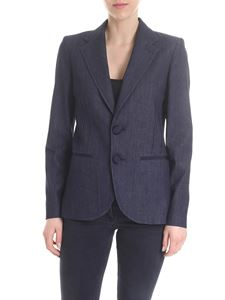 Emporio Armani - Chambray single-breasted jacket in blue