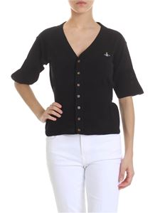 Vivienne Westwood  - Cardigan in black with logo embroidery