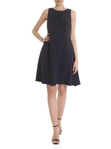 Emporio Armani - Flared dress with drapery in blue