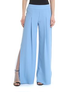 Patrizia Pepe - Light blue palazzo trousers with transparent detail