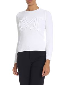 Max Mara - White crew-neck pullover with M embroidery
