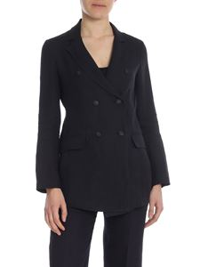 True Royal - Diane double-breasted jacket in black