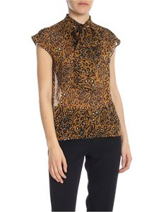 True Royal - Animalier top with ribbon on the neckline