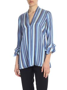 Her Shirt - Alicia blouse in blue striped viscose