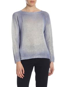 Avant Toi - Coated pullover in light blue and white