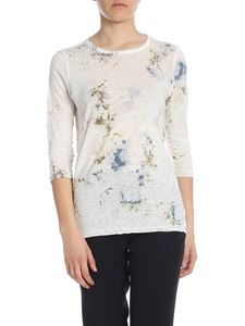 Avant Toi - Ivory t-shirt with blue floral print