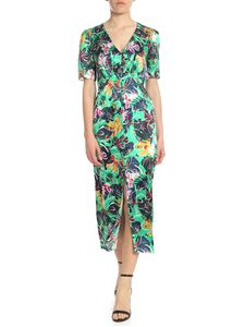 Saloni - Eden green dress with floral print