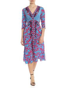 Saloni - Eve dress in turquoise with fuchsia floral print