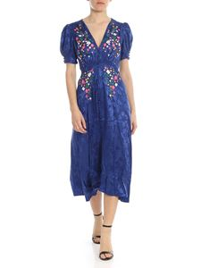 Saloni - Lea dress in blue with floral embroidery