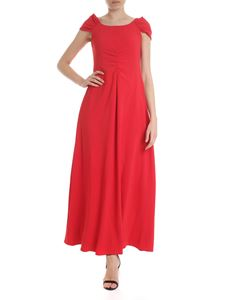 Emporio Armani - Long dress with front pleat in red
