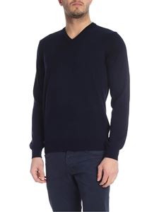Kangra Cashmere - V neck pullover in blue cotton