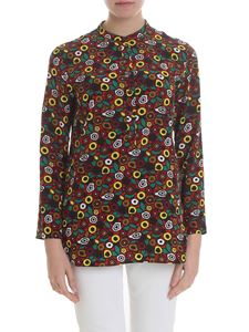 Aspesi - Red silk blouse with multicolor prints