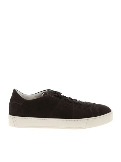 Santoni - Brown sneakers with logo on the tongue