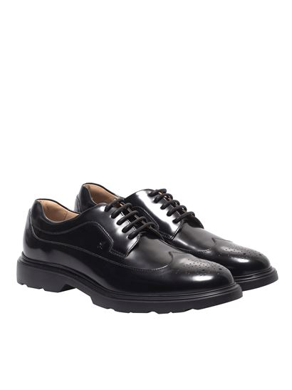Hogan - H393 derby brogue shoes in black leather