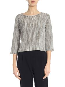 Lorena Antoniazzi - Linen sweater in brown and white
