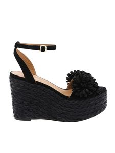 Paloma Barceló - Black Armele wedges with floral embellishment