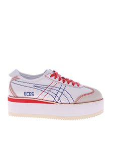 GCDS - White leather sneakers with GCDS print