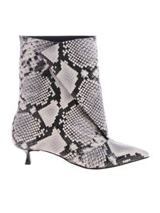 MSGM - Fold ankle boots with python print