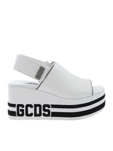 GCDS - White leather wedge sandals