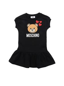 Moschino Kids - Teddy Bear dress in black with hearts print